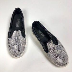 Topshop Slip On Black Reptile Print Loafers